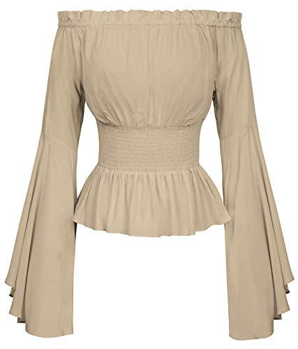 Damen Bluse Mittelalter Shirt Elfenbein top Oberteil Black Blouse L BP468-4