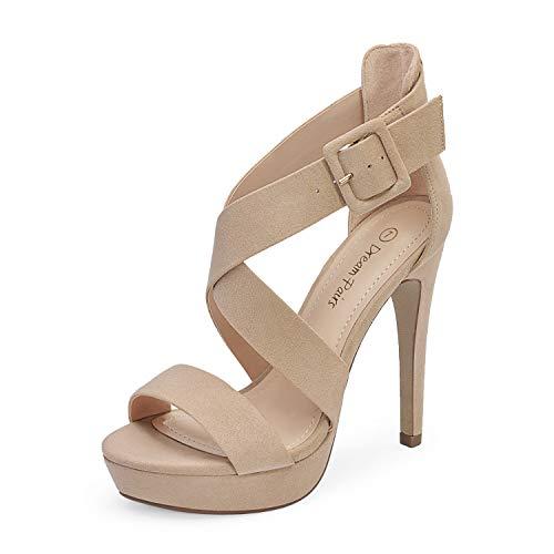 DREAM PAIRS Women's Nude Suede Cross Strap Open Toe High Stilettos Party Pump Platform Heel Sandals Size 9 US Charlotte
