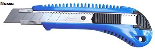 Nexxa Paper Cutter manual locking system 18mm Blade Plastic Body Sliding Blade knife, rust resistant blades, Color may vary