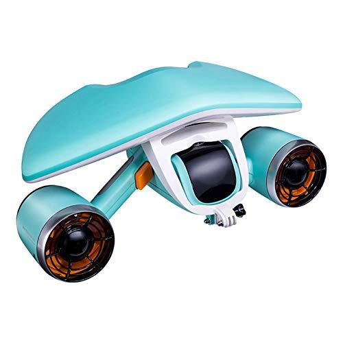 QTSR Bajo Agua Scooter Velocidad de 1,5 m 40m de Profundidad Soporte de cámara Compatible con Go Pro para inmersiones Poco Profundas, Aventuras de Snorkel o Caza de Peces,Blue