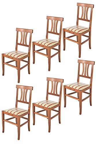 Tommychairs - Set 6 sillas Artemisia para Cocina y Comedor, Estructura en Madera de Haya Color Nogal Claro y Asiento en Tela lisere roja