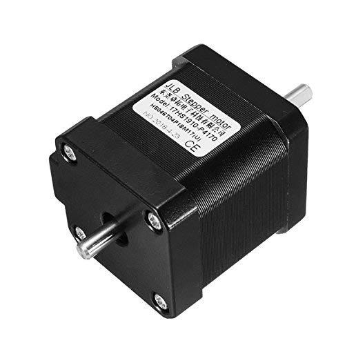 Motore passo-passo Nema 17 a doppio albero 1,7 A 0,55 Nm bipolare 4 fili per fai da te 3D-Pinter CNC