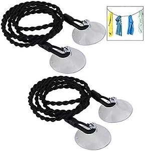 Xrten 2 Piezas Tendedero Elástico Portátil, Cuerdas para Tender la Ropa con La Ventosa, Uso En el Exterior y Interior, Viaje, Hotel