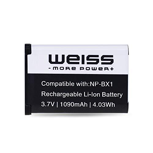 Weiss–Batería para NP-BX1para Sony Cybershot DSC-HX50V/DSC-HX400V/DSC-RX100/DSC-RX100III/DSC-WX300/Action Cam HDR-AS20/HDR-AS100VR/HDR de CX240E 1090mAh [sustituye a: NP-BX1] Ion de litio
