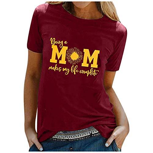 Camiseta de verano para mujer, parte superior de carta MOM, estampado, manga corta, informal, cuello redondo, camisa para mujer, adolescente y niña Vino M