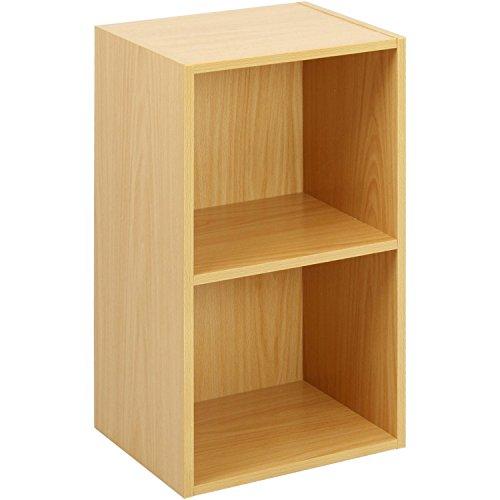 Beech Finish 2 Shelf Wooden Bookcase (Brown)