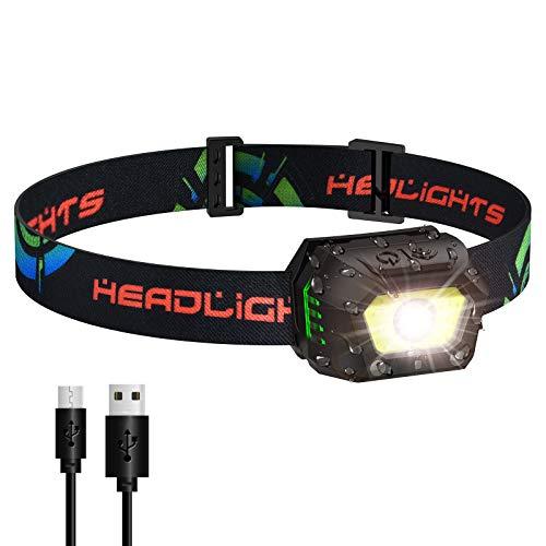 VBIGER Linterna Frontal LED USB Recargable, Linterna Cabeza Brillante 5 Modos Sensor de Movimiento, Linternas LED IPX5 Impermeable para Camping Excursión Pesca Carrera Ciclismo Acampar