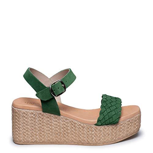 Zapatos miMaO. Zapatos Piel Mujer Hechos EN ESPAÑA. Sandalia Cuña y Plataforma. Cuñas Altas Cómodas de Piel con Plantilla Ultra Confort Gel
