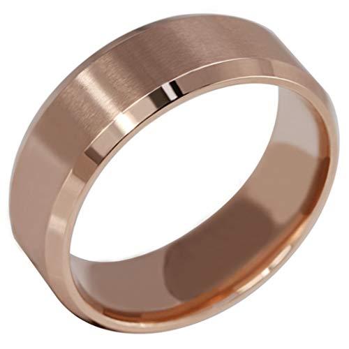 Anyeda Ringe Männer für Hochzeit Edelstahl Damen Ring Jewelry Rose Goldene Bänder Einfach...