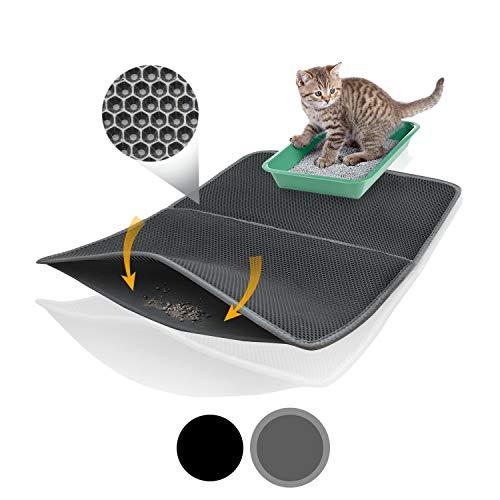 Bella & Balu XXL Alfombrilla Gato con diseño Panal - Alfombra Lavable con Fondo higiénico para Gatos - para un apartamento Limpio sin Arena sanitara para Gatos (Azul | 100 x 65 cm)