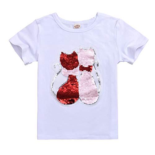 Lee Little Angel Die Girls Baby-Pailletten 2018 Werden das T-Shirt-Muster mit farbigen Baumwollkurzärmeln verändern (140, Farbwechsel Katze)