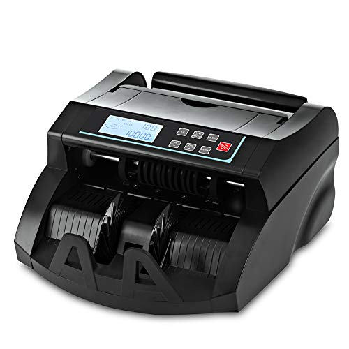 Money Counter DOMENS UV/MG Counterfeit Bill Detection Cash Counting Machine US Dollar Currency Banknote Counter Selected Single Denomination to Calculate The Total Monetary Value(Black)