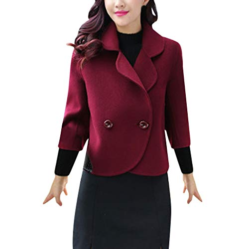 FRAUIT Business Casual korte wollen jas dames elegante wintermantel knoop revers jas korte trenchcoat | zachte dufflecoat | parka - jas mode elegant streetwear