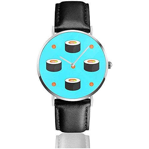 Roll with Salmon and Caviar Women Men PU Leather Band Relojes de Pulsera Negro