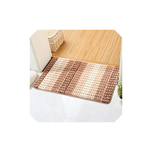 Striped Bath Mat Non-Slip Mat Area Rug for Living Room Kitchen Bathroom Rug Carpet 4 Colors Floor Mats Water Absorption Rug,Champagne,About 40x60cm