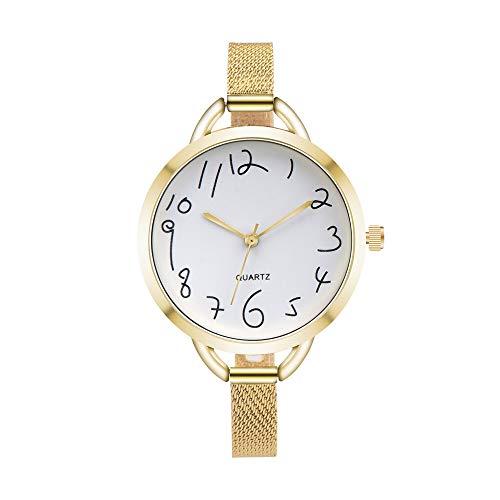 JZDH Relojes para Mujer Moda Oro Relojes de Mujer Casual Cristal de Acero Inoxidable Malla de Malla Reloj de Pulsera Cuarzo Casual Reloj Femenino Simple Relojes Decorativos Casuales para Niñas Damas