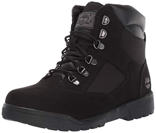 Timberland 6-Inch Leather and Fabric Field Boot (Toddler/Little Kid/Big Kid),Black Nubuck,4 M US Big Kid