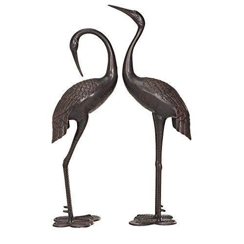 Sunjoy Cast Aluminum 2pcs Garden Accent Decor Crane Set