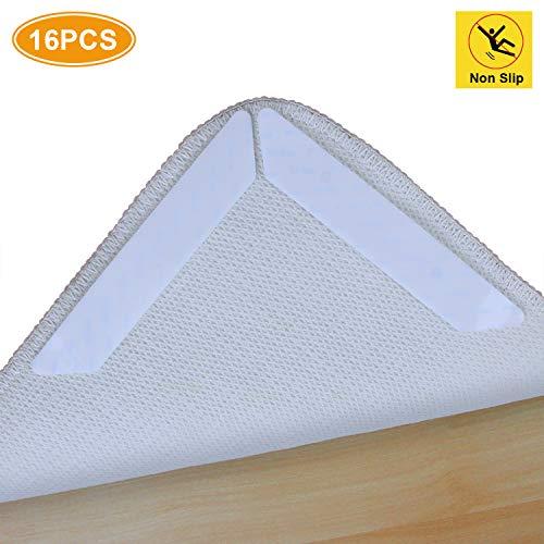 AK KYC 16 Stück Anti-Roll-Teppich-Greifer für Teppiche und Ecken, flach, Hartplastik, 3-lagiges Design, wiederverwendbares Teppich-Klebeband, für alle Hartholzböden, Weiß