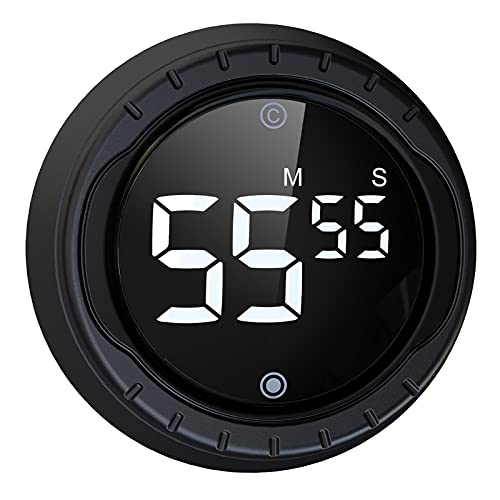 BALDR Magnetic Digital Timer for Kitchen Cooking, Classroom Study Timer for Kids, Accurate Countdown Timer,LED Big Digits and Volume Adjustable(Black)
