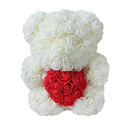 Ofanyia Valentines Romantic Gift Girlfriend Kid Gift Mother's Day Gift Box PE Rose Bear Artificial Rose Décorations Mignonne
