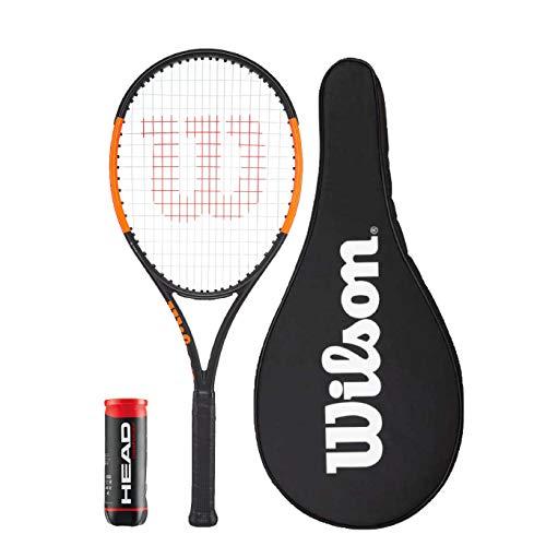 Wilson Burn 100LS Graphite Tennisschläger + Hülle + 3 Tennisbälle (Griffgröße L2, L3 & L4), Grip Size: L2