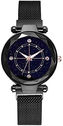 JZDH Mano Reloj Reloj de Lujo con Reloj de Pulsera Relojes de Cuarzo para Mujer Señoras Magnético Starry Sky Relojes Moda Cuarzo Reloj Relogio Relojes Decorativos Casuales (Color : Negro)
