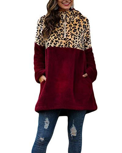 Felpa Donna con Cappuccio in Morbido Flanella Manica Lunga Felpe Leopardo Calda Invernale Abito con Cappuccio Taglie Forti Maglione Vestiti Elegante Moda,Rosso,XL