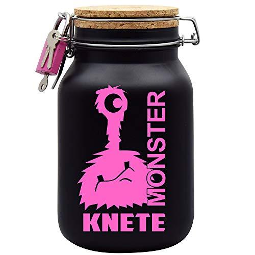 Spardose Monster Knete Pink Geld Geschenk Idee Schwarz XL