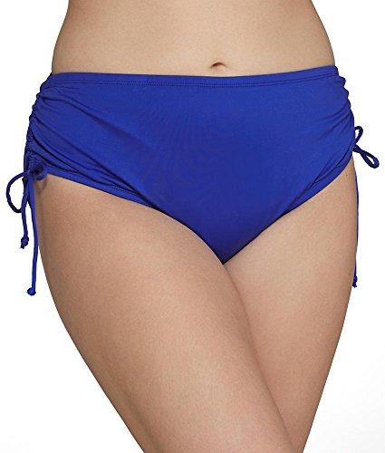 24th & Ocean Women's Plus Size High Waist Side Tie Hipster Bikini Swimsuit Bottom, Cobalt II, 18W