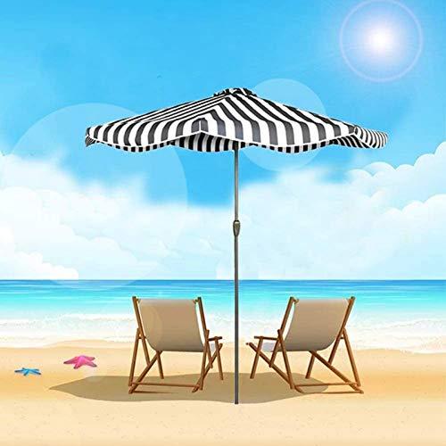 aipipl Ombrellone a Strisce, ombrellone Bianco Nero con manovella e 8 Stecche per Tavolo da Esterno/Spiaggia/Piscina/Mercato, Grande tettoia Parasole