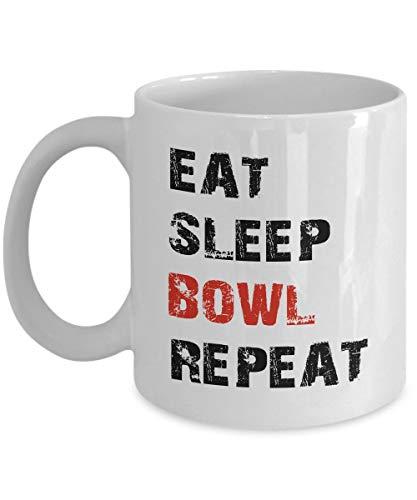 Lustige Kaffeetasse mit einzigartigem Bowling-Eat Sleep Bowl Repeat Bowling Coach Mädchen Kinder Männer Frauen Bowling Trainer Jungen Alter 4 Bowling Vatertag oder Geburtstag