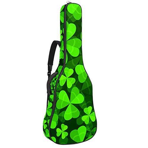 Gitarren-Gigbag, wasserdicht, Reißverschluss, weicher Gitarren-Rucksack, Bass, Akustik- und klassische Folk-E-Gitarrentasche, Kleeblatt, drei und vier Blätter