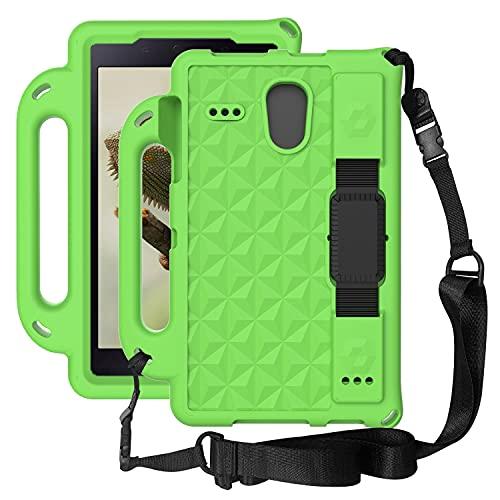 AHUOZ Funda para tablet PC Samsung Galaxy Tab 4 8' T330/T331, ligera, a prueba de golpes, compatible con niños, cuerpo completo, EVA, funda protectora, soporte y correa para el hombro (color verde)