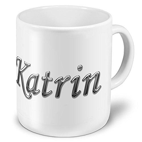 """XXL Riesen-Tasse mit Namen """"Katrin"""" - Jumbotasse mit Design Chrombuchstaben - Namens-Tasse, Kaffeebecher, Becher, Mug"""