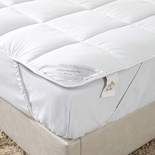 Mattress Pad with 100% Cotton Cover, Down Alternative Bed Pad for Optimum Cushioning & Support, Breathable White Color, Full Size