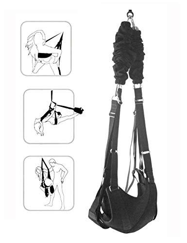 Tzteed Ensemble de balançoires intérieur pour Adultes Balançoire pivotante à 360 degrés - Peut Supporter jusqu'à 800 LB avec Cadre Triangulaire en Acier et Ressort pour Couples