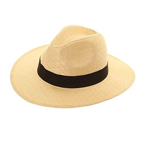 Unisex Pajita Crushable Plegable Packable Verano, Fedora Panamá Trilby Sombrero con ala Ancha Banda de Negro y más Amplio