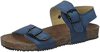 Skippy Adjustable Buckle Strap Open Toe Sandals for Boys - Navy, 35 EU