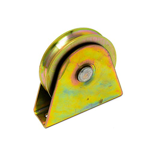 ALEKO WHEEL35INCHVG V Groove Wheel for Sliding Rolling Slide Chain Gear Rack Gate Track 3.5 Inch Diameter Gold
