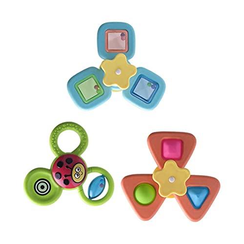 3 unids bebé baño juguetes dibujos animados spinning juguete succión taza superior juguetes bañera agua juguetes para bebés