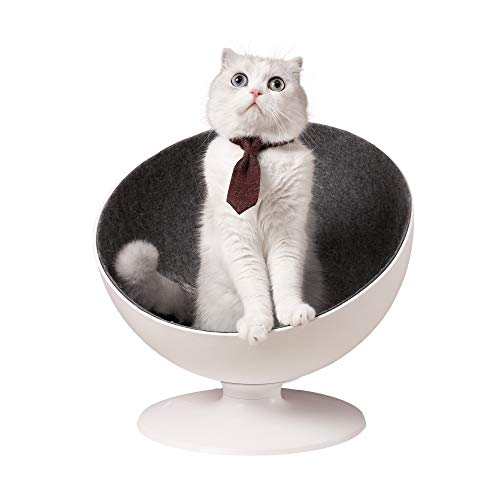 Furrytail BOSS Cat Elevated Bed House Chair Sofa for Cats or Small Dogs, Bowl Shaped Chair with 360-degree Rotation System and Easy to Clean Fabrics Lining