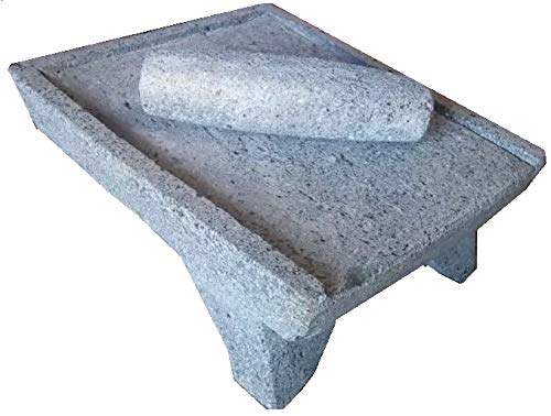 Made in Mexico Genuine Mexican Azteca Manual Volcanic Lava Rock Metate Y Mano Mortar and Ground Stone Grains Seeds Spices Corn Elote Maíz Chocolate #12