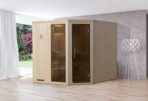 Weka element sauna 508 GTF maat 4 incl. 7,5 kW OS-oven buitenafmetingen (B x D x H): 194 x 194 x 199 cm wanddikte: 68 mm ligstoel: 2 stuks ligstoel: 1 stuk Uitvoering: natuurlijke kachel: incl. 7,5 kW OS-oven Instap: hoekinstap