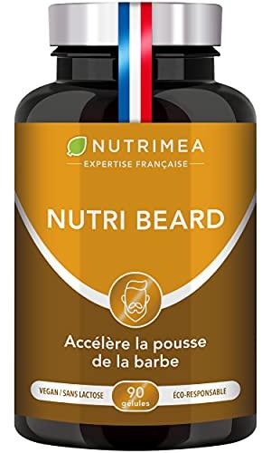 1er accélérateur de pousse de barbe - Soin barbe 100% naturel - Effet en profondeur sur le volume, la force et l'éclat pour une barbe parfaite - NUTRI BEARD - 90 gélules - Fabrication française