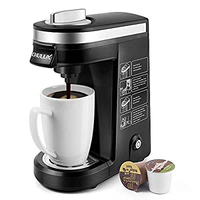 CHULUX Single Serve Coffee Maker Brewer for Single Cup Capsule with 12 Ounce Reservoir,Black (Renewed)