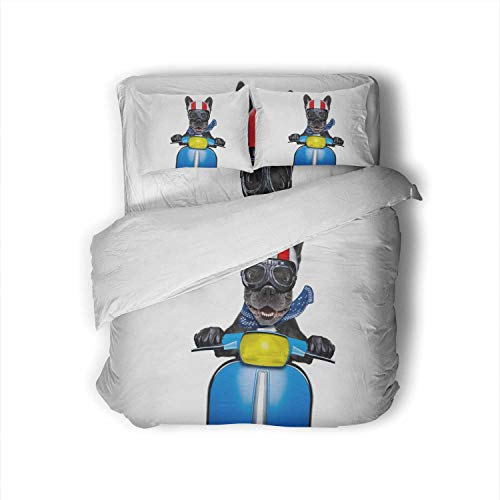 C COABALLA Crazy Silly Motorbike French Bulldog Dog with Helmet and Goggles,Full Size Cotton Sateen Sheet Set - 4 Piece - Supersoft Riding and Driving A Motorcycle Full