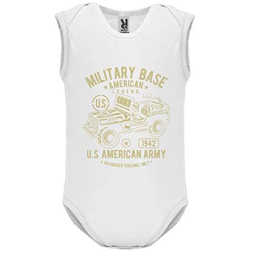 Body bébé - Manche sans - American Army Jeep - Bébé Garçon - Blanc - 9MOIS