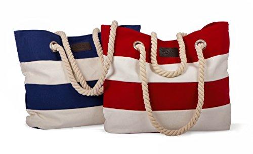 tomBrook | XL strandtas/shopper | maritiem gestreept met koord in touw-look | 100% katoen