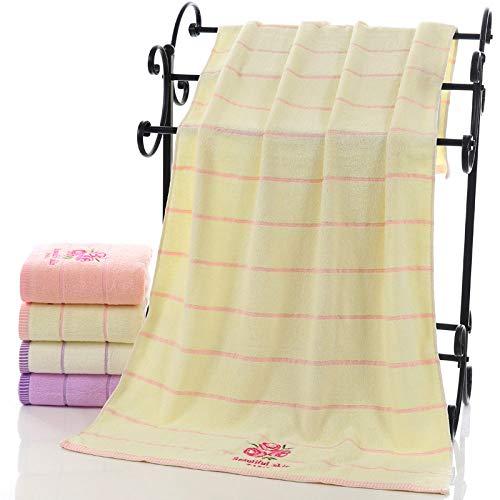 WLQCPD Badhanddoek Katoen Badhanddoeken voor Volwassenen Citroen Groene Thee Bloemengestreepte Familie serviette de bain Absorbens Camping Badkamer Handdoek Kinderen